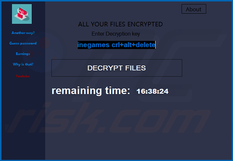 Ahmed Minegames ransomware pop-up window