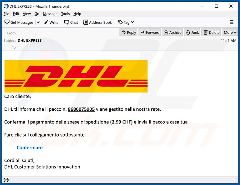 Italian variant of DHL Express spam email