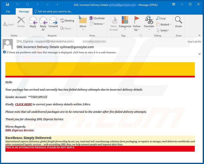 DHL Express spam email (2021-02-11)