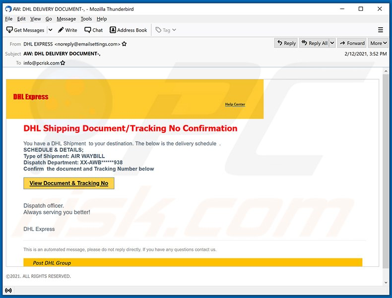 DHL Express spam email (2021-02-15)