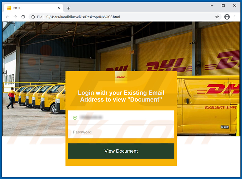 HTML file imitating DHL login site used for phishing purposes