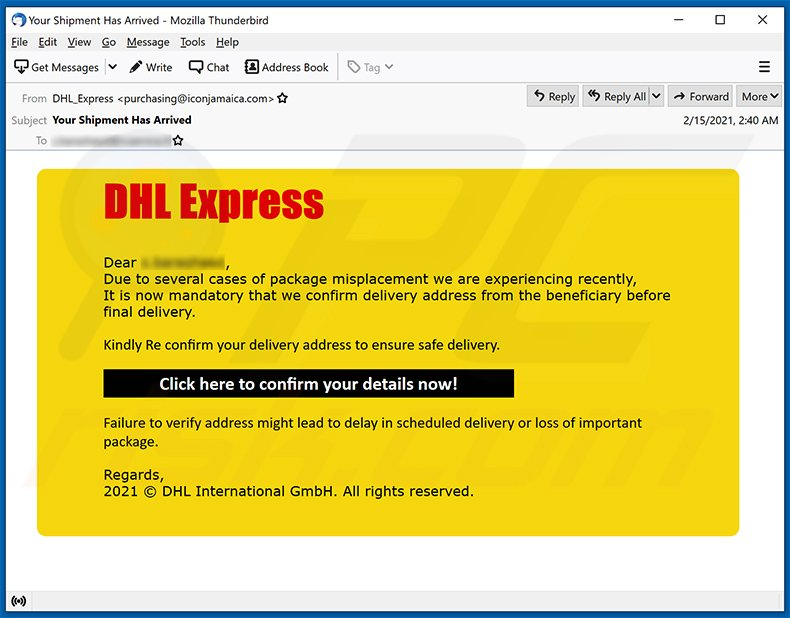 DHL Express spam email promoting a phishing site (2021-02-18)