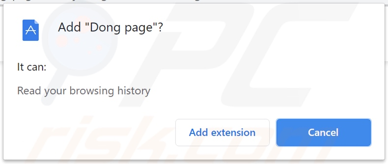 Dong page browser hijacker asking for permissions