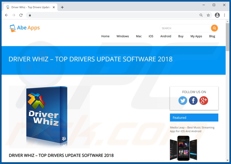 Website used to promote Driver Whiz PUA