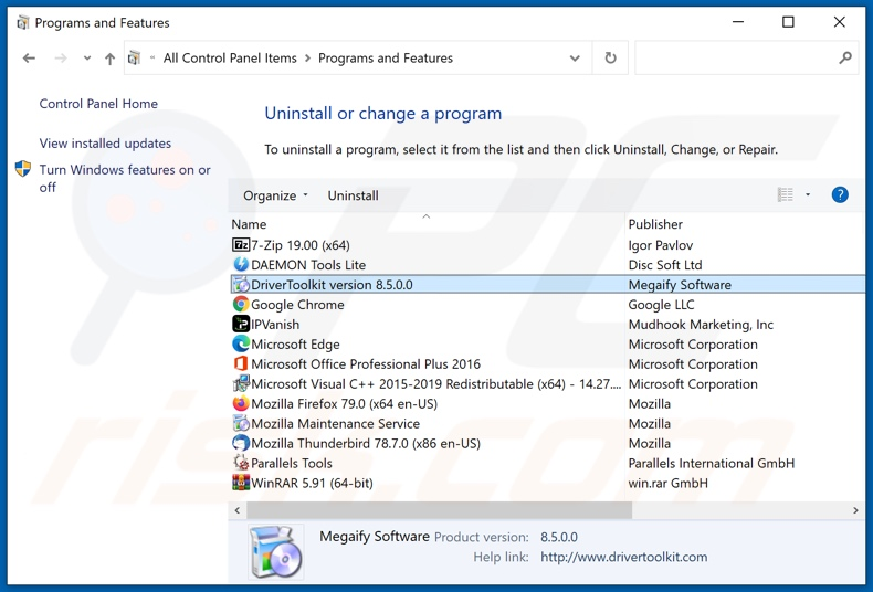 DriverScape adware uninstall via Control Panel