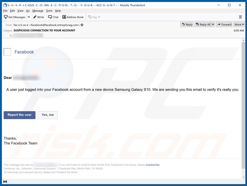 Facebook email spam campaign