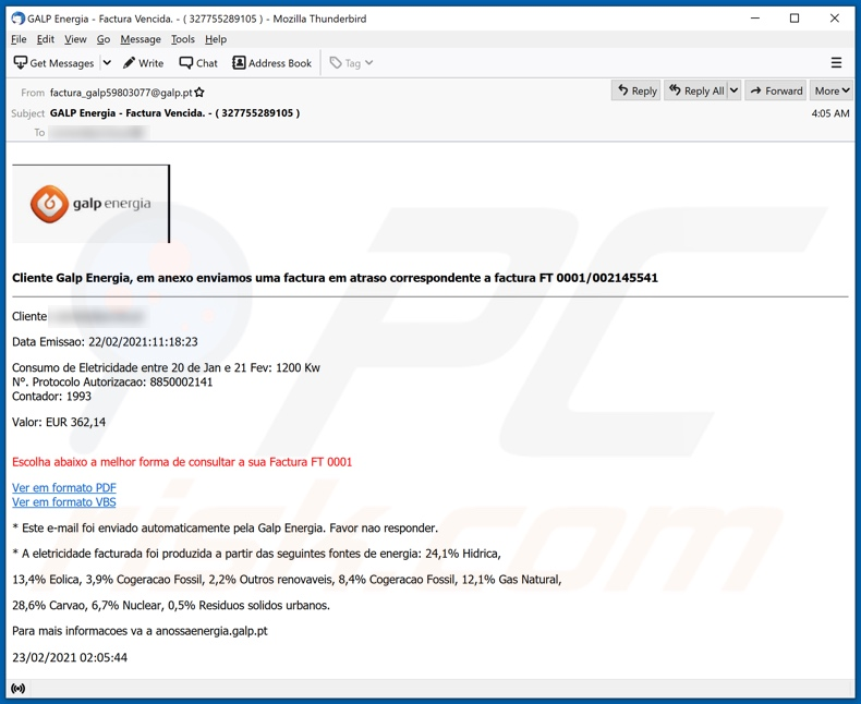 Galp Energia malware-spreading email spam campaign