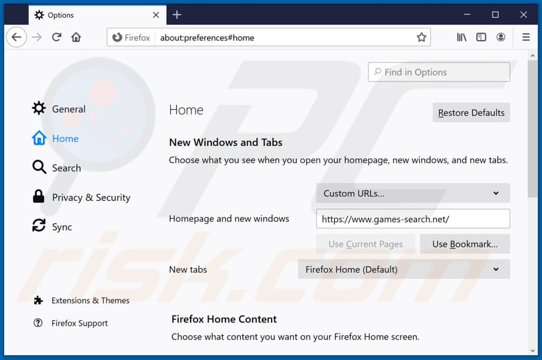 Removing games-search.net from Mozilla Firefox homepage