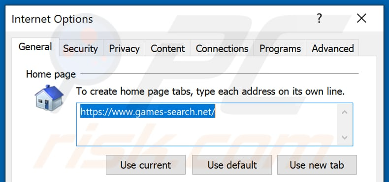 Removing games-search.net from Internet Explorer homepage