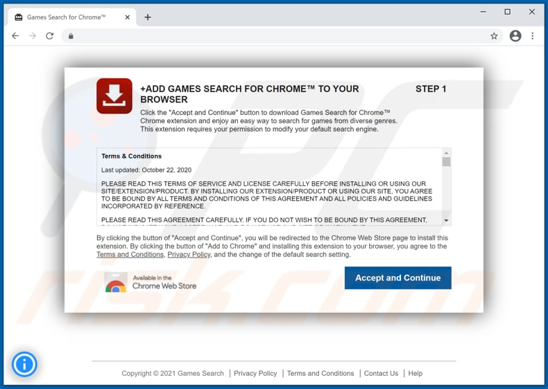 Website used to promote Games Search browser hijacker