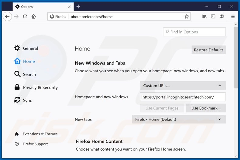 Removing incognitosearchtech.com from Mozilla Firefox homepage