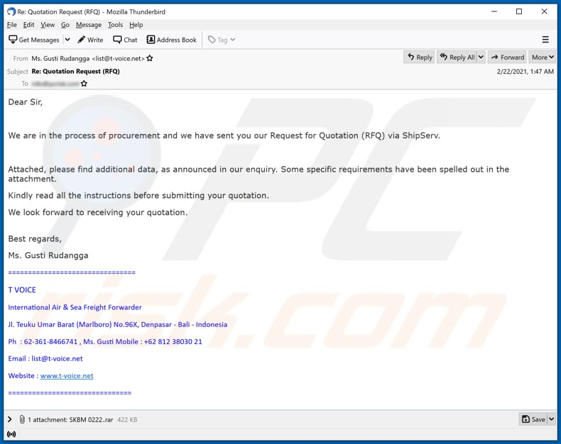 International Air & Sea Freight Forwarder email virus malware-spreading email spam campaign