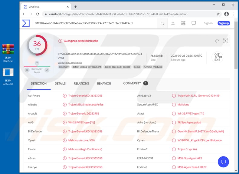 international air and sea freight forwarder email virus virustotal detections executioncontext.exe