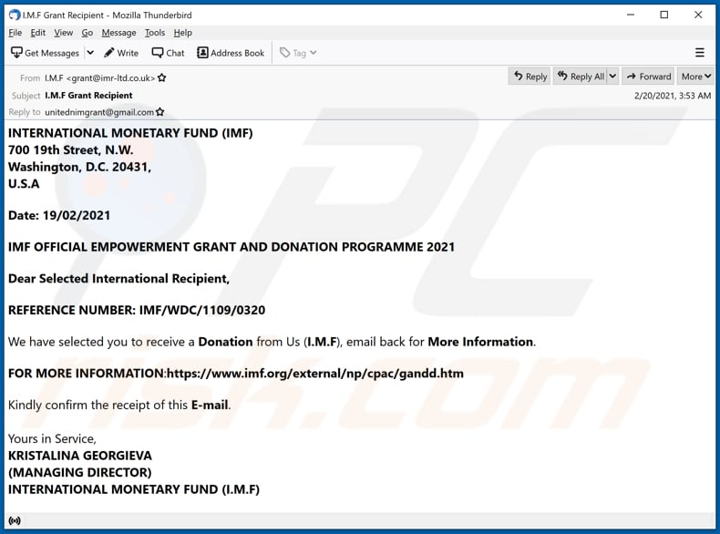 INTERNATIONAL MONETARY FUND (IMF) email scam email spam campaign