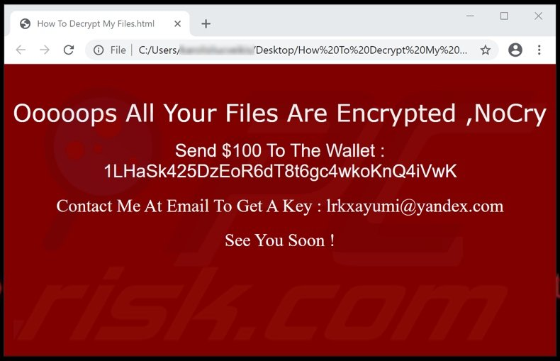 NoCry ransomware html file (How To Decrypt My Files.html)