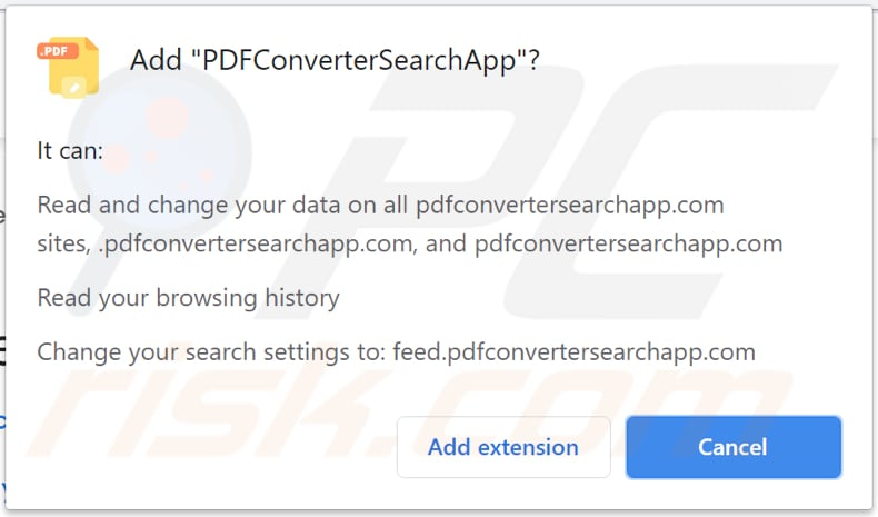 pdfconvertersearchapp browser hijacker notification