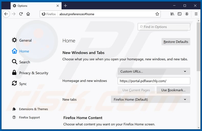 Removing pdfsearchly.com from Mozilla Firefox homepage