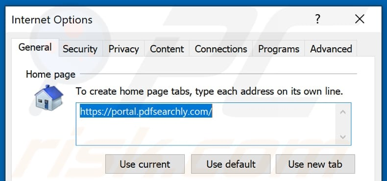 Removing pdfsearchly.com from Internet Explorer homepage