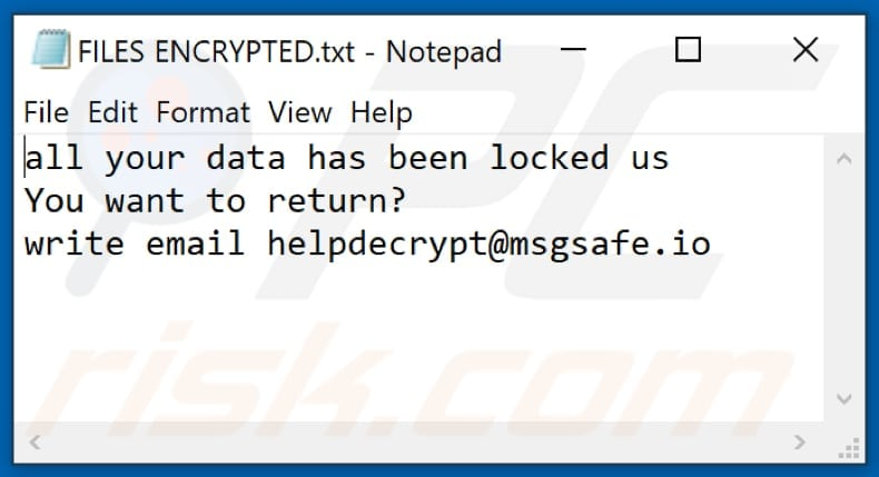 Text ransomware text file (FILES ENCRYPTED.txt)