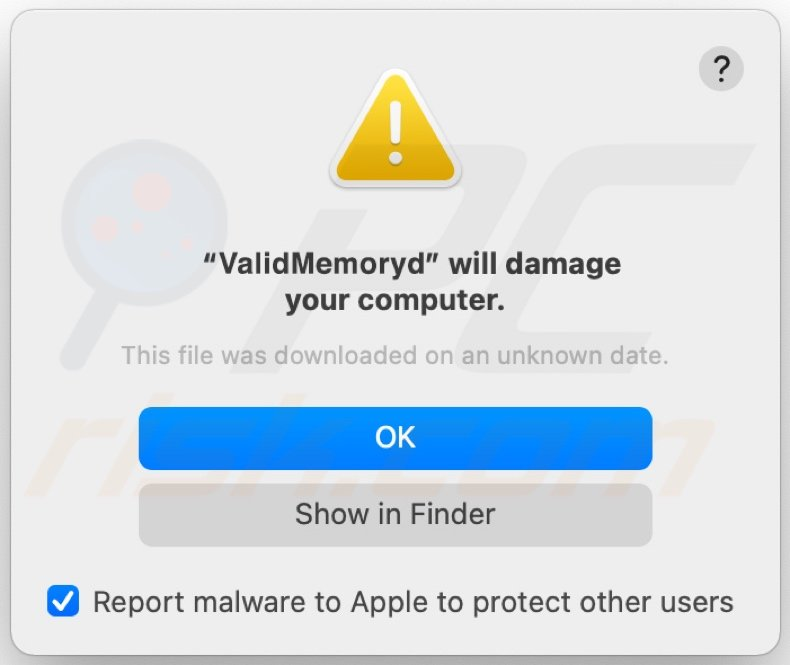 ValidMemory adware pop-up