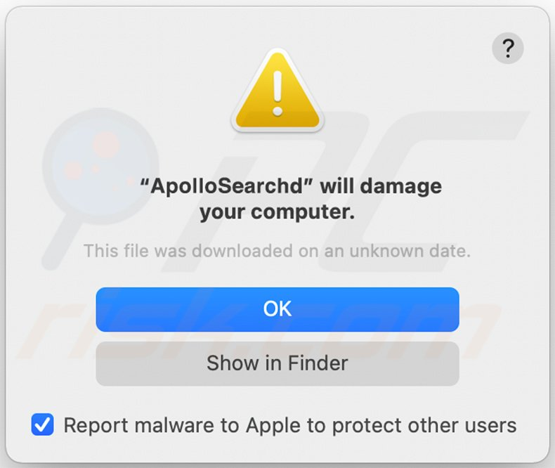 ApolloSearch adware warning pop-up