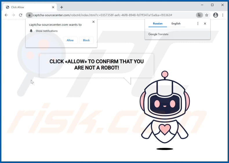 captcha-sourcecenter[.]com pop-up redirects