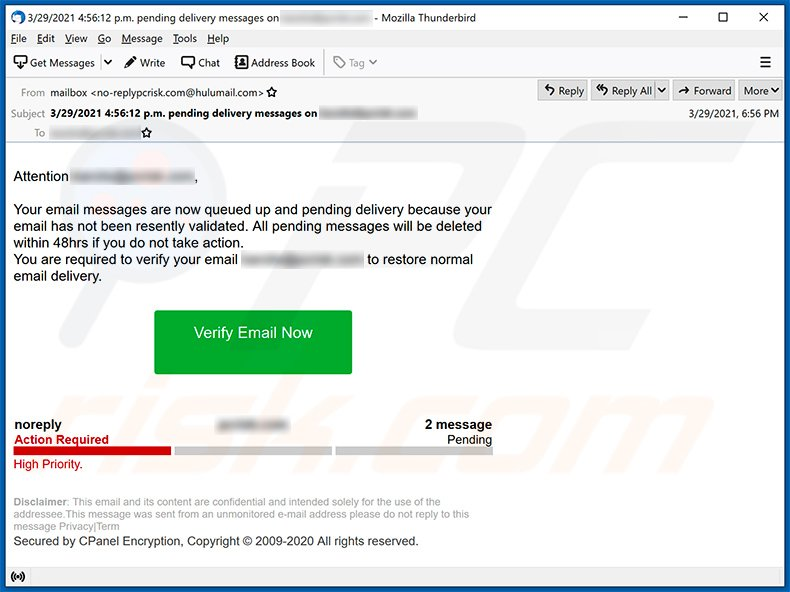 Pending email messages scam (2021-03-30)