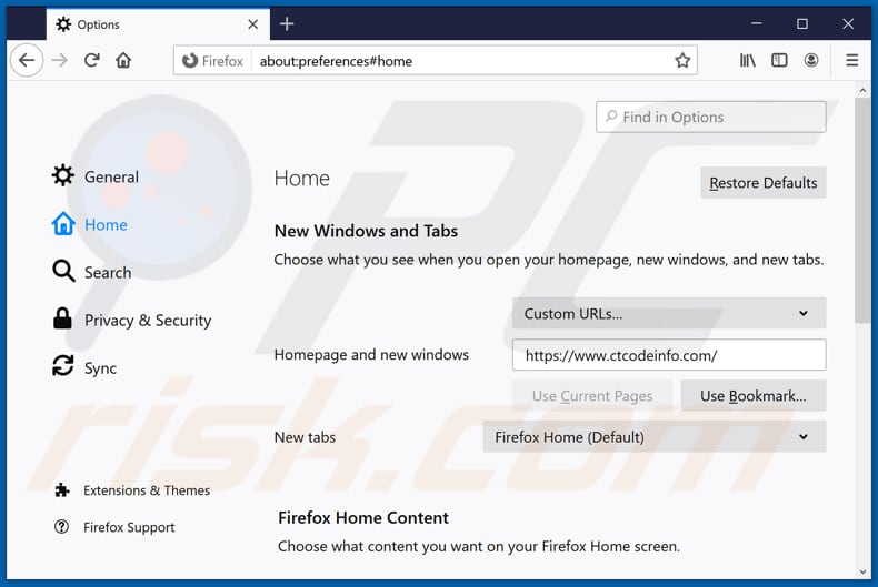 Removing ctcodeinfo.com from Mozilla Firefox homepage