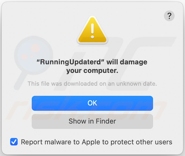 RunningUpdater adware warning pop-up