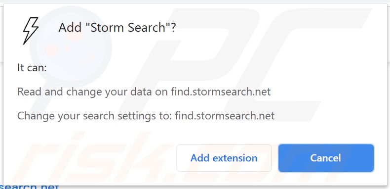 Storm Search browser hijacker asking for permissions
