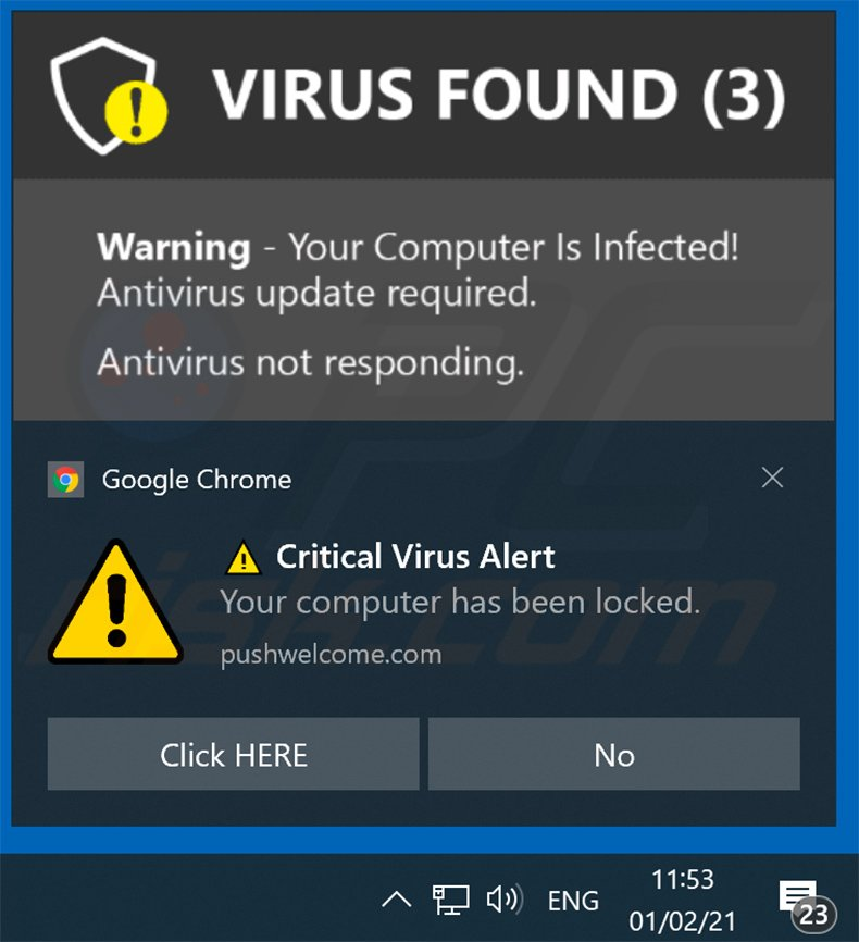 Your ANTIVIRUS Subscription Has Expired scam promoted via browser notification (sample 1)