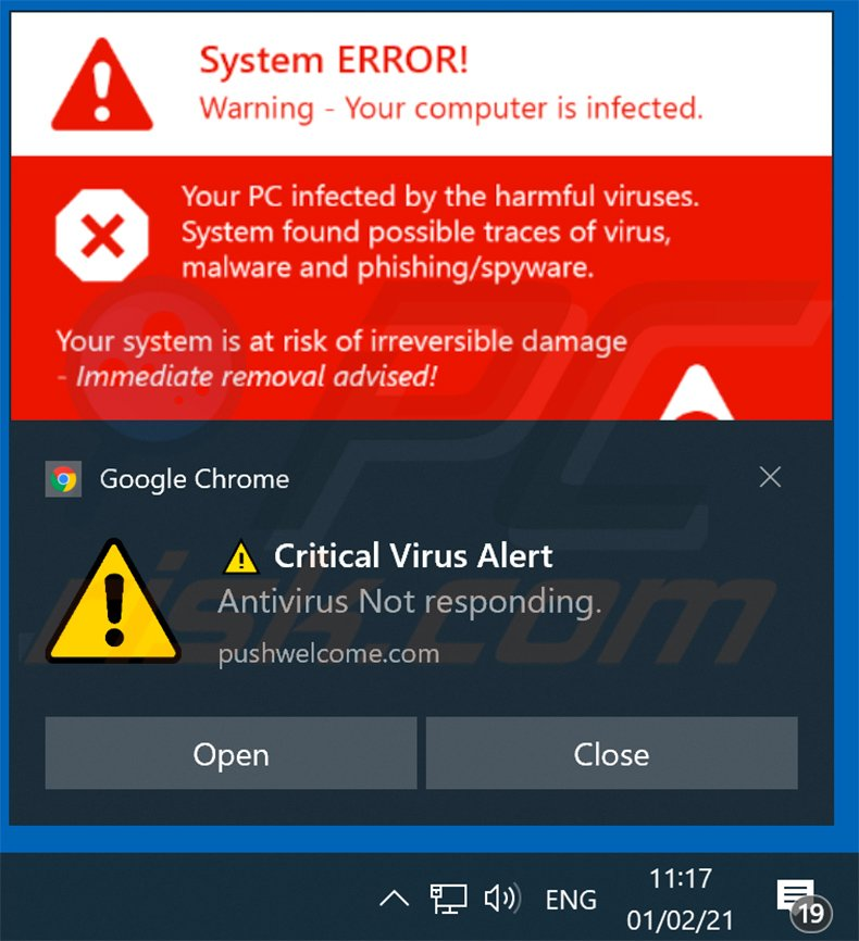 Your ANTIVIRUS Subscription Has Expired scam promoted via browser notification (sample 2)