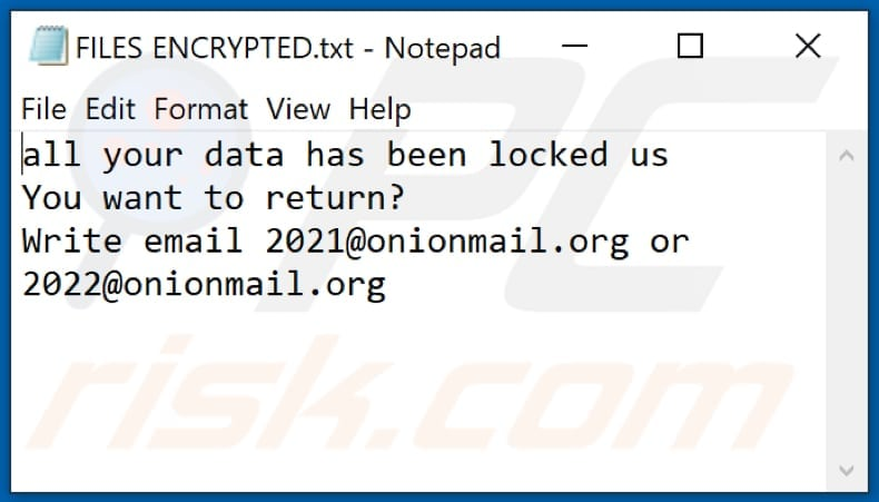 2122 ransomware text file (FILES ENCRYPTED.txt)