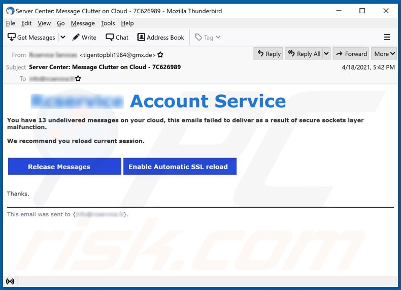 Account Service email spam campaign