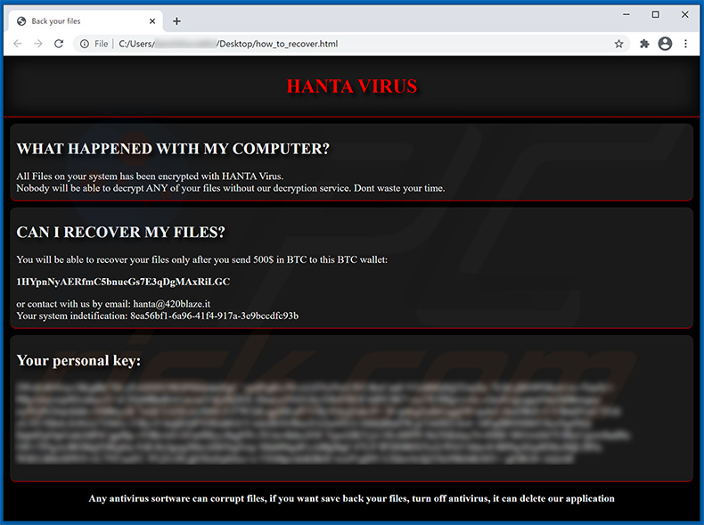 HANTA Ransomware html file (how_to_recover.html)