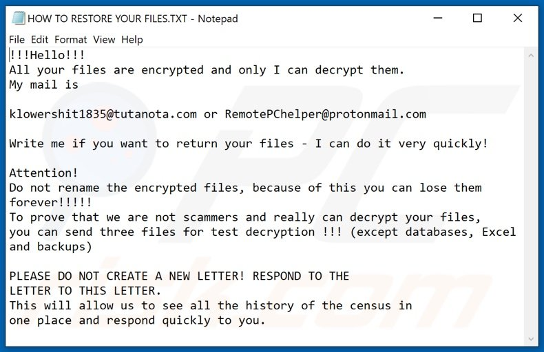 Lawvuhqjr decrypt instructions (HOW TO RESTORE YOUR FILES.TXT)