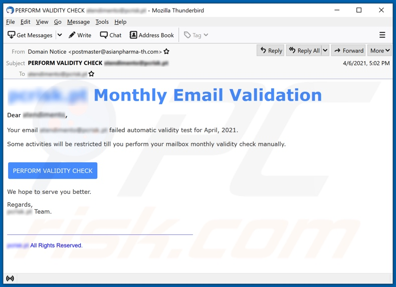 Monthly Email Validation email spam campaign