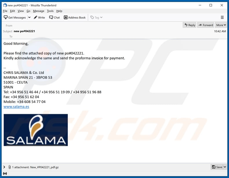 SALAMA email virus malware-spreading email spam campaign