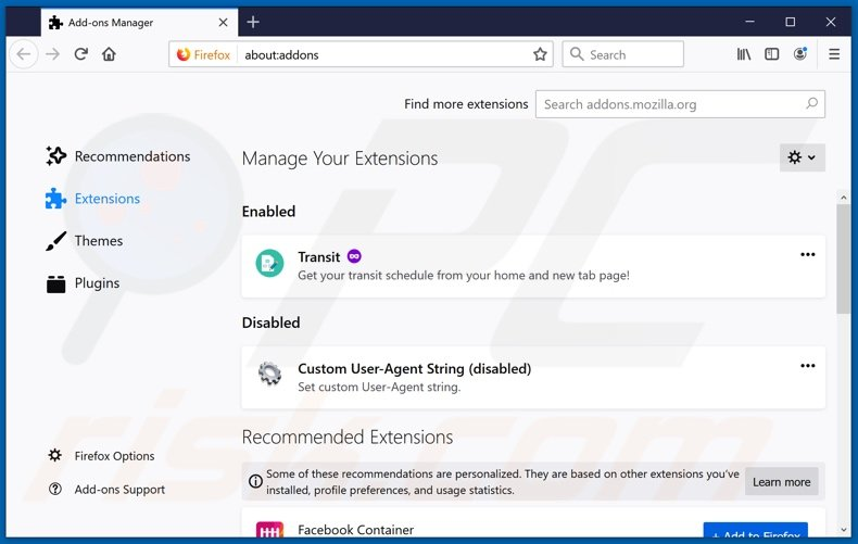 Removing searchconverterit.com related Mozilla Firefox extensions