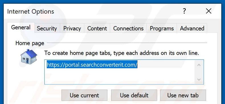 Removing searchconverterit.com from Internet Explorer homepage