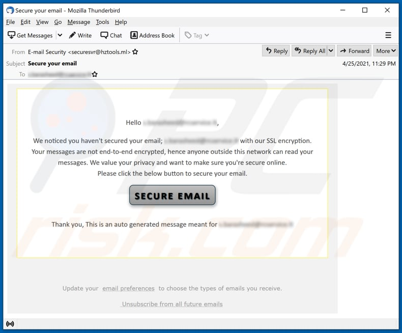 Secure your email scam email spam campaign
