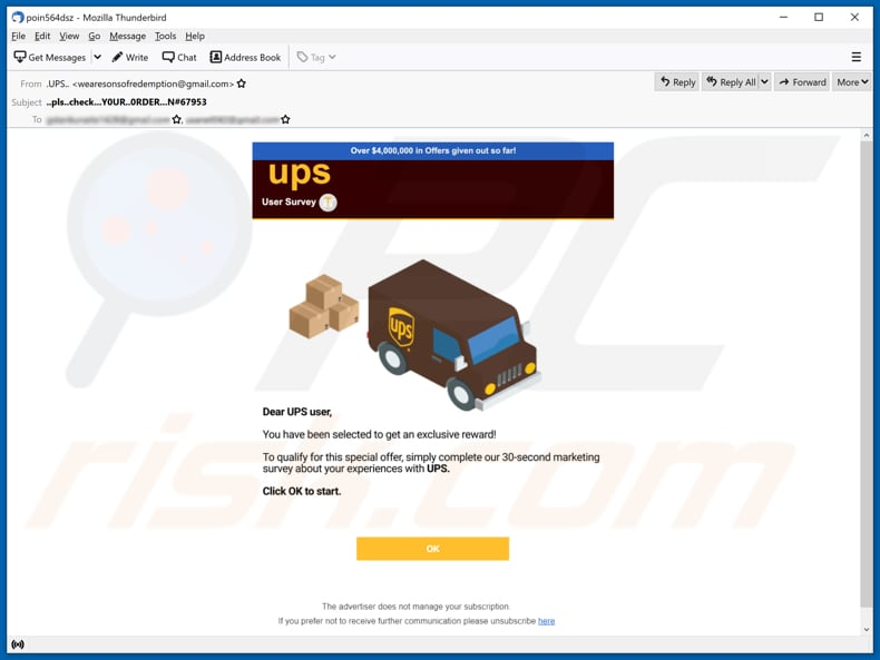 shipping survey reward scam email