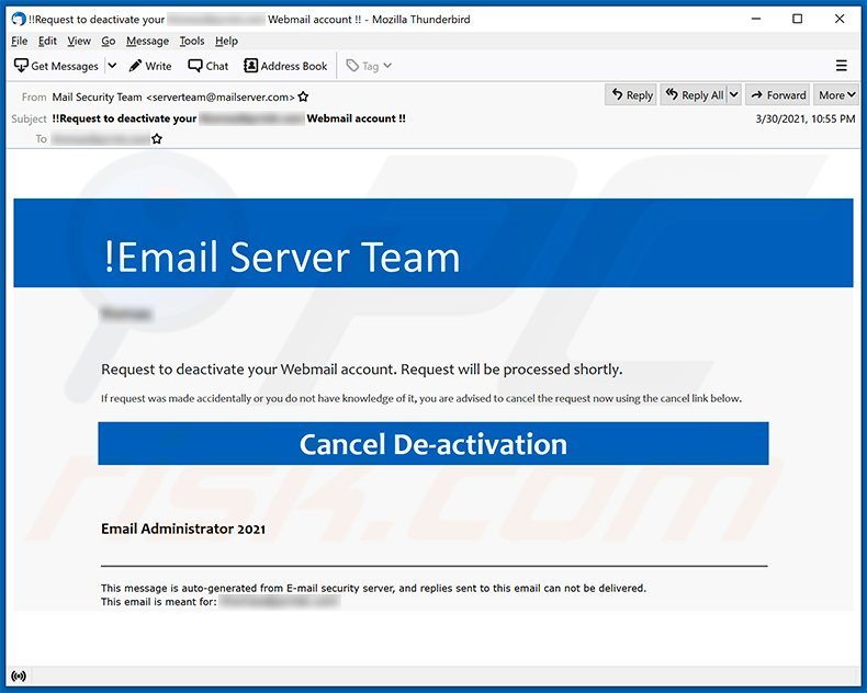Webmail-themed spam email promoting a phishing website (2021-04-01)