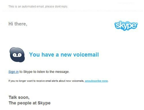 skype voice mail scam message