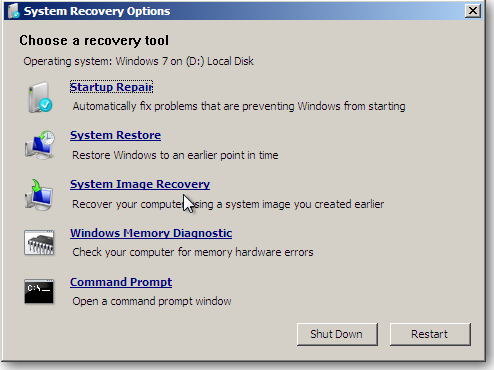 system recovery cd options