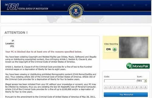 The FBi Federal Bureau of Investigation screen locker