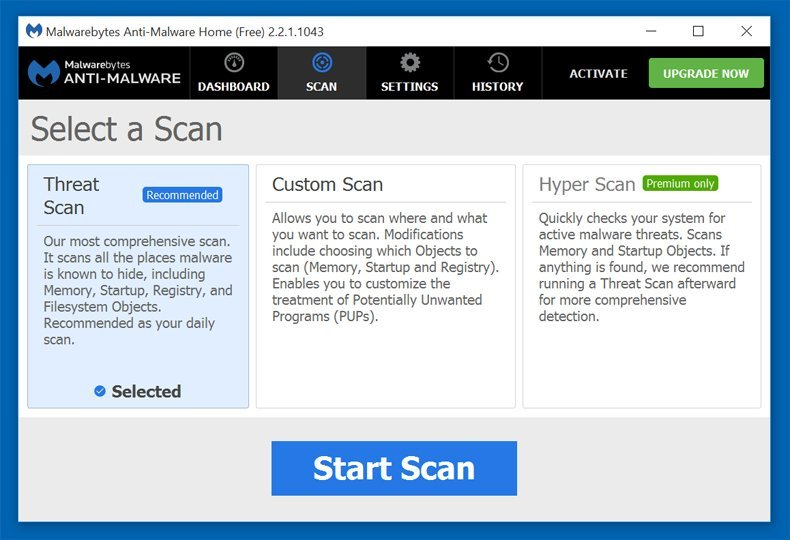 malwarebytes antimalware security scan options