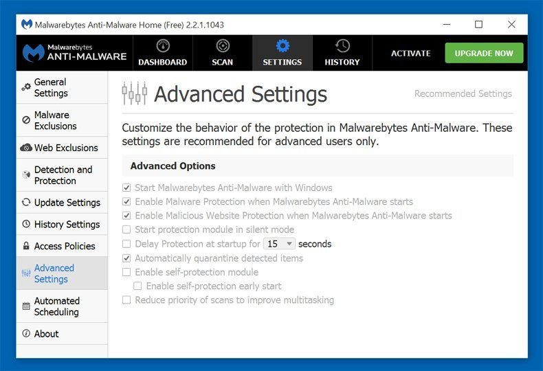 Malwarebytes Antimalware Advanced settings