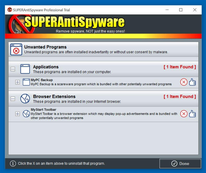 supersntispyware uninstall potentially unwanted programs