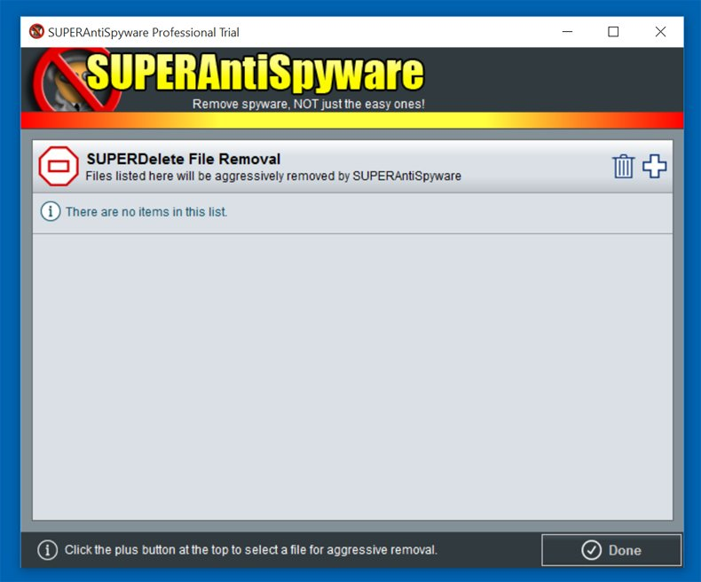 how to delete a file with superantispyware